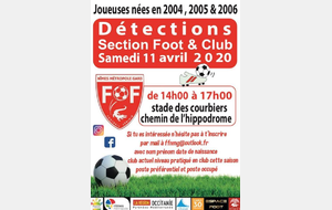 Détection club & section sportive  2020 reporté en MAI si possible